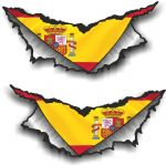 SMALL Pair Triangular Ripped Torn Metal & Spain Spanish Flag Vinyl Car Sticker 75x35mm Each